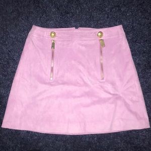 Express Pink Suede Miniskirt with Gold Accents